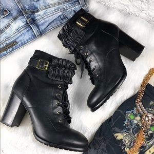 Betsey Johnson Black Heel Allexxis Combat Boot